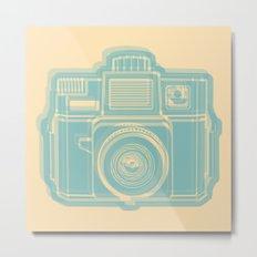 I Still Shoot Film Holga Logo - Reversed Turquoise/Tan Metal Print