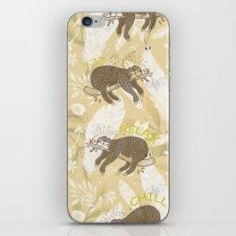 Lazy Boho Sloth On Yellow Background iPhone Skin