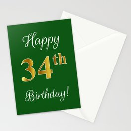 """Elegant """"Happy 34th Birthday!"""" With Faux/Imitation Gold-Inspired Color Pattern Number (on Green) Stationery Cards"""
