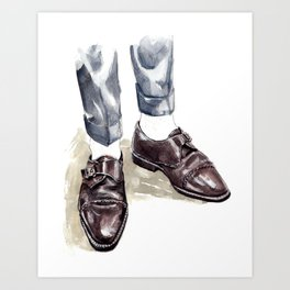 Vintage Monk Strap Fashion Illustration Art Print