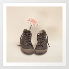 Brown Converse Boots and Pink Flower (Retro Still Life Photography)  Art Print