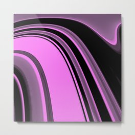 Pink and Black Slick Metal Print