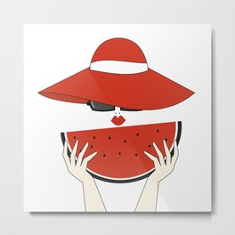 beautiful young woman with red hat, sunglasses and watermelon slice Metal Print