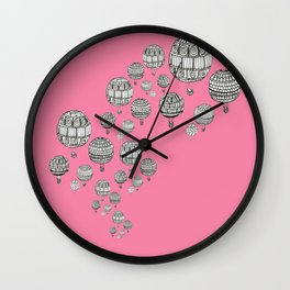 balloons in the pink Wall Clock