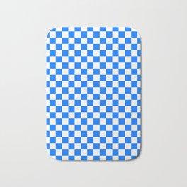 White and Brandeis Blue Checkerboard Bath Mat