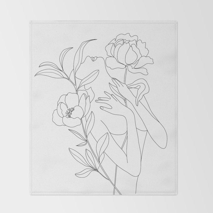 Minimal Line Art Woman with Peonies Throw Blanket