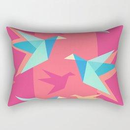 Vivid Pink Paper Cranes Rectangular Pillow