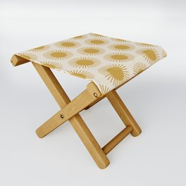 Golden Sun Pattern Folding Stool