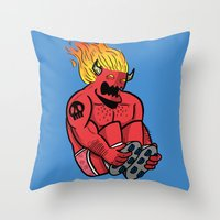 satan Throw Pillows featuring Satan Rollin' by KODYMASON