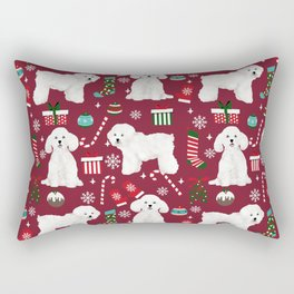 Bichon Frise Christmas dog breed pattern mittens stockings presents dog lover Rectangular Pillow