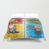 hogwarts Duvet Covers featuring Hogwarts crest by tee-kyrin