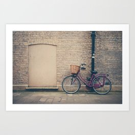 maroon bicycle in Cambridge print Art Print