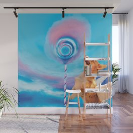 Giant pink cloud lollipop and a flying corgi Wall Mural