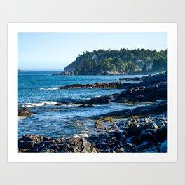 Costal Vibes // Northeastern Maine Rocks and Ocean Photograph Art Print