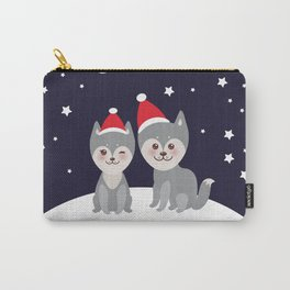 Merry Christmas New Year's card design funny gray husky dog in red hat, Kawaii face with large eyes Carry-All Pouch