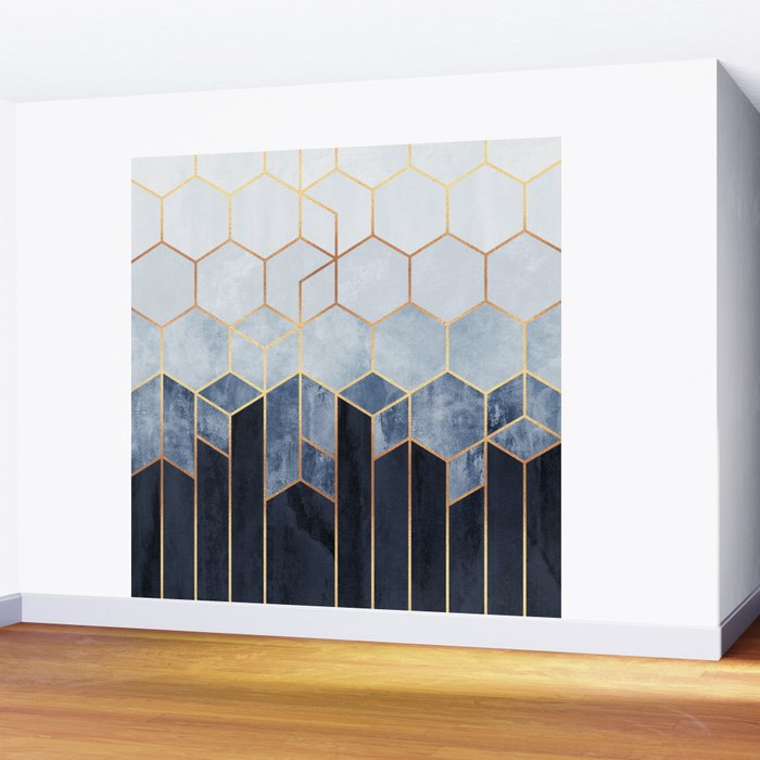 Soft Blue Hexagons Wall Mural