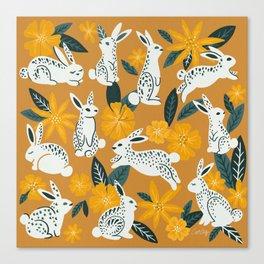 Bunnies & Blooms - Ochre & Teal Palette Canvas Print