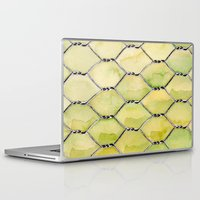the wire Laptop & iPad Skins featuring Chicken Wire by Dawn Patel Art