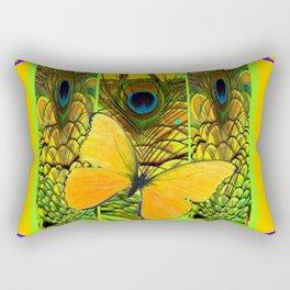 ART NOUVEAU YELLOW BUTTERFLY PEACOCK FEATHERS Rectangular Pillow