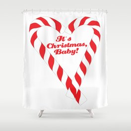 Candy Cane - It's Christmas, Baby! #xmas #christmas #minimal #love #design Shower Curtain
