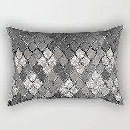 Mermaid Scales Silver Gray Glitter Glam #1 #shiny #decor #art #society6 Rectangular Pillow