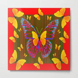 YELLOW BUTTERFLIES RED MODERN ART Metal Print