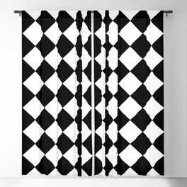 SMALL BLACK AND WHITE HARLEQUIN DIAMOND PATTERN Blackout Curtain