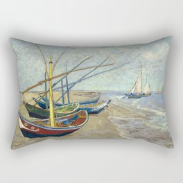 Fishing Boats on the Beach by Vincent van Gogh Rectangular Pillow