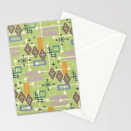 Retro Mid Century Modern Atomic Abstract Pattern 244 Stationery Cards