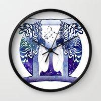 gemini Wall Clocks featuring Gemini by Stevyn Llewellyn