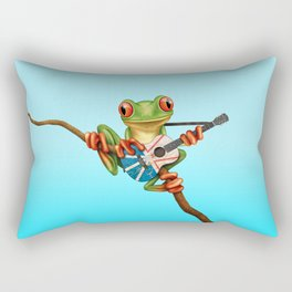 Tree Frog Playing Acoustic Guitar with Flag of Newfoundland Rectangular Pillow
