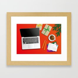 workplace at christmas time Framed Art Print