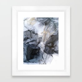 Calm but Dramatic Light Monochromatic Black & Grey Abstract Framed Art Print