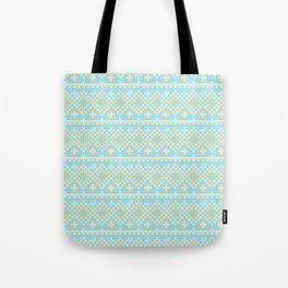 Vintage orange teal stylish cross stitch pattern Tote Bag