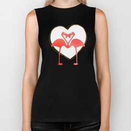 lovebirds - flamingos in love Biker Tank