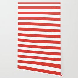 CG red -  solid color - white stripes pattern Wallpaper