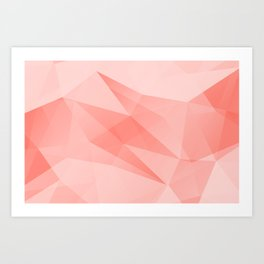 Pantone Living Coral Color of the Year 2019 on Abstract Geometric Shape Pattern Art Print