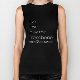 Live, love, play the trombone (dark colors) Biker Tank