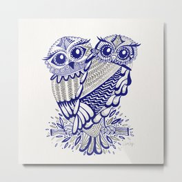 Owls – Silver & Navy Metal Print