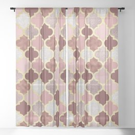Warm rose gold moroccan Sheer Curtain