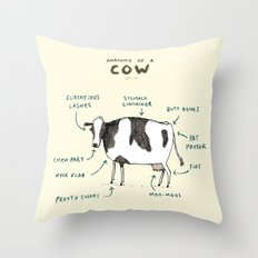 Anatomy of a Cow Throw Pillow