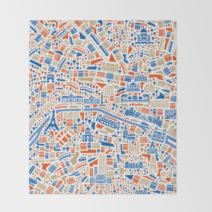 Paris City Map Poster Throw Blanket By Vianina Society6: Paris City Map Poster At Infoasik.co