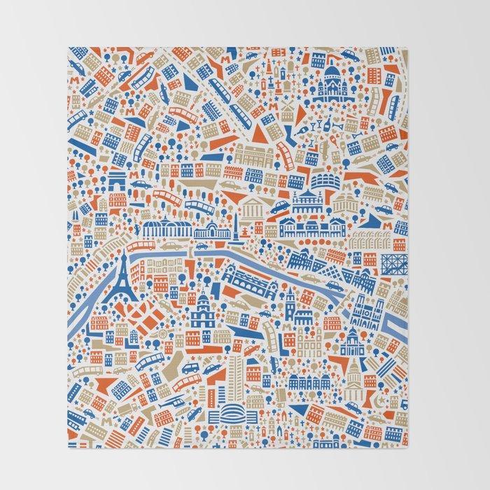 Paris City Map Poster Throw Blanket