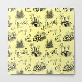Eurasian Wolf Toile Pattern (Yellow and Black) Metal Print