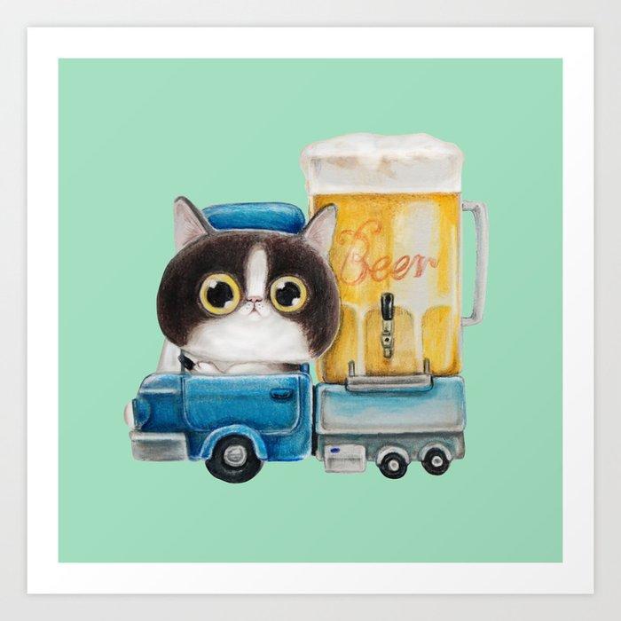 A cat in a beer truck Art Print