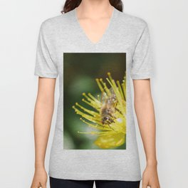 Bee Emerging Forest of Stamens on Yellow Flower Unisex V-Neck