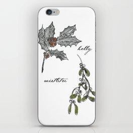 A Botanical mistletoe and holly Christmas iPhone Skin