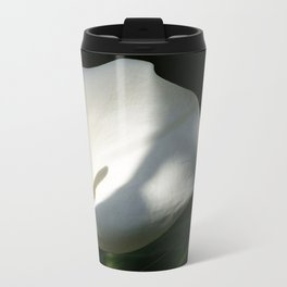 White Calla Lilies Over Black Background In Soft Focus Travel Mug