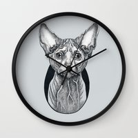 sphynx Wall Clocks featuring Sphynx cat by SilviaGancheva
