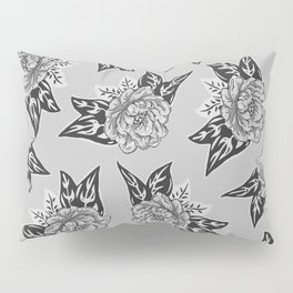 Cabbage Roses in Grey Pillow Sham